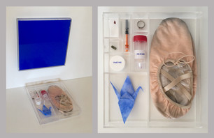 Pietro Librici, The Ideal World and the Real World, plexiglass, plastic, paper, pure blue pigment, syringe, gauze, blood, tears, meniscus, copper ring, ballet shoes, Aventurine stone, 30x33x41 cm, 2017.