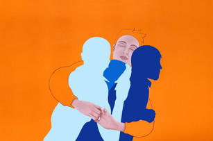 Pietro Librici, Touch Me Now - Hugging, Oil on canvas, 75x105cm.