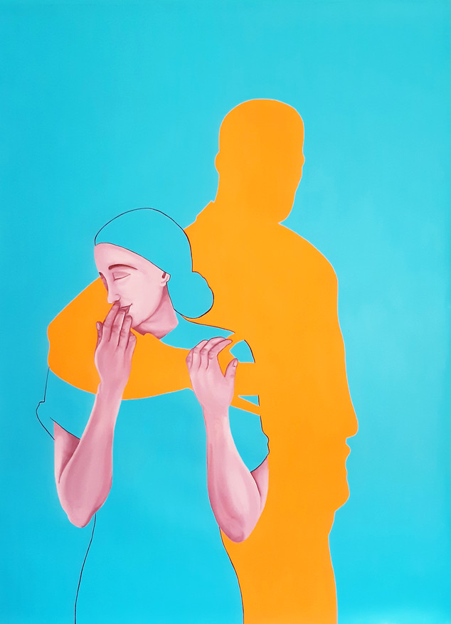 Pietro Librici, Touch Me Now - Safe in Your Arm, Oil on canvas, 70x100cm.