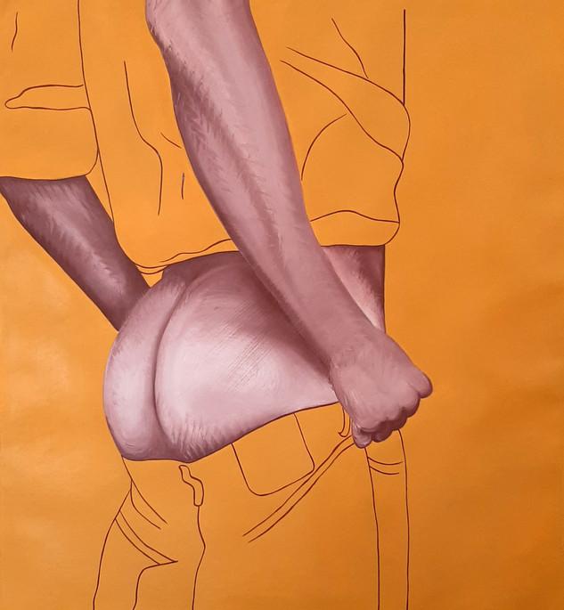 Pietro Librici, Jeans Down, Oil on canvas, 45x50 cm.
