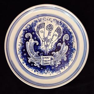 Pietro Librici,  Florere - Amor Vincit Omia - Plate, Overglaze ceramic, Ø=31 cm.