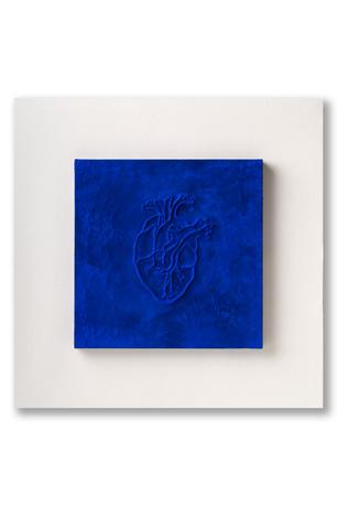 Pietro Librici, Cuore Sacro (Sacred Heart), Mixed media on canvas, paper e plexiglass, 50x50x5,5 cm.