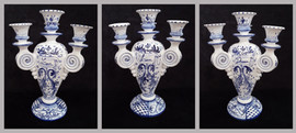Pietro Librici, 4-Branched Candelabrum Love/Live/Dream, Overglaze ceramic, h=34 cm Ø=24 cm.