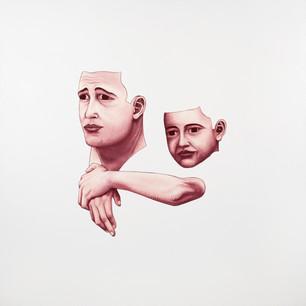 Pietro Librici, Padre e Figlio (Father and Son), Oil on canvas, 100x100 cm.