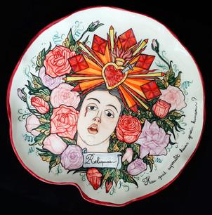 Relique Plate - Heu Quid Superabit Huius Generis Humani?, Underglaze ceramic, Ø= 40cm.
