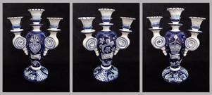 Pietro Librici, 4-Branched Candelabrum Ama/Vivi/Sogna, Overglaze ceramic, h=34 cm Ø=24 cm.