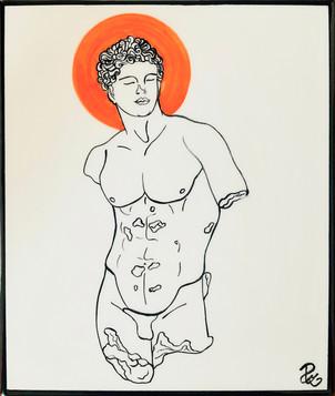 Pietro  Librici, FallenGod With Orange Halo, Underglaze ceramic, 24x28 cm.jpg