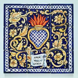 Pietro Librici, Amor Vincit Omnia - Tile mosaic, Overglaze ceramic, 30x30 cm.