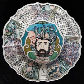 Pietro Librici, Poseidon, Ni Lu Me Mari - Plate, Overglaze ceramic, Ø=42,5 cm.