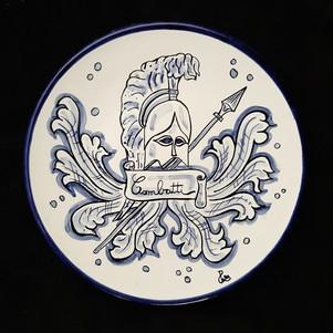 Pietro Librici, Combatti - Plate, Overglaze ceramic, Ø=23 cm.