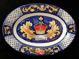 Pietro Librici, Vivere - Oval plate, Overglaze ceramic, 41x29 cm.