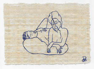 Pietro Librici, I Papiri degli Stati d'Animo: l'Ozio (The Papyruses of Your Soul: the Leisure), Oil on papyrus, 13x18 cm.