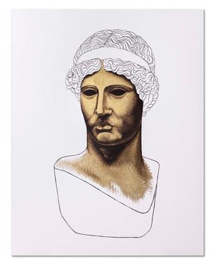 Pietro Librici, Athena Lemnia 3/4 (3/4  Athena Lemnia), Oil on cavas, 100x80 cm.