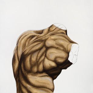 Pietro Librici, Schiena (Back), Oil on cavas, 100x100 cm.