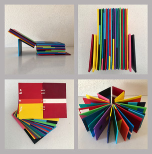 Pietro Librici, Libro Disarcromico n. 1 and n. 2 (Disarchromatic Book n. 1 and n. 2) , Acrylic on canvas cardboards and twine, 20,5x15x10 cm, 2016.