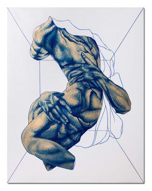 Pietro Librici, Stanza Elastica n. 2 - Studio Bernini (Elastic Room n. 2 - Bernini Tribute), Oil on canvas, 70x90 cm.