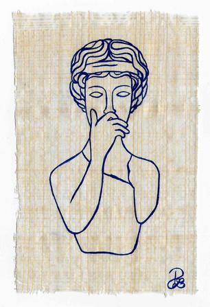 Pietro Librici, I Papiri degli Stati d'Animo: lo Sgomento (The Papyruses of Your Soul: the Fright), Oil on papyrus,  8,5x13 cm.