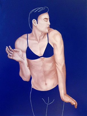 Pietro Librici, Man in Bra - Excuse Moi?!! Oil on canvas, 100x80 cm.