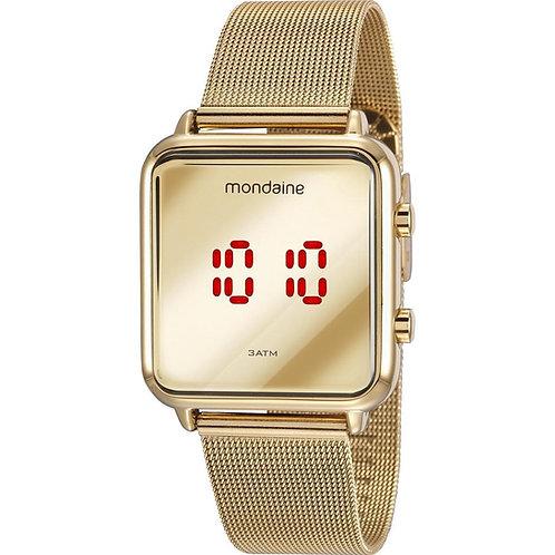 Relógio Feminino Digital Dourado Quadrado