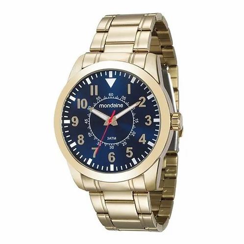 Relógio Masculino clássico dourado com visor Azul