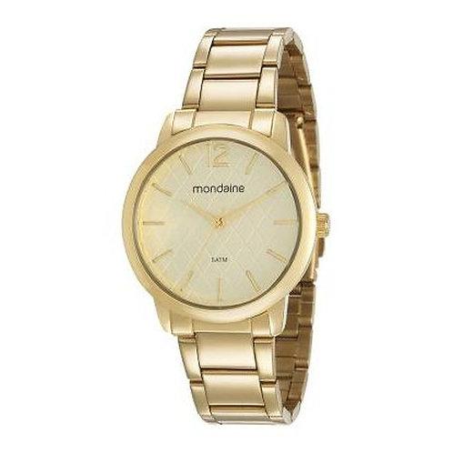 Relógio Feminino Dourado Visor Texturizado