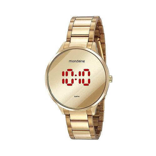 Relógio Feminino Digital Dourado Redondo