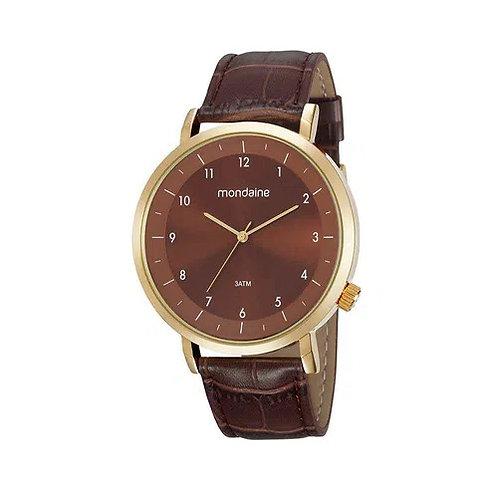 Relógio fundo marrom pulseira em couro
