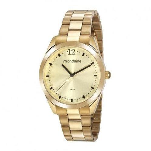 Relógio Feminino Casual Fundo Dourado