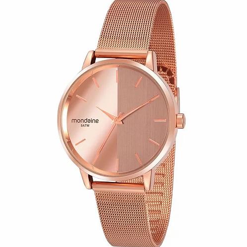 Relógio Feminino Malha de Aço Espelhado Rosé