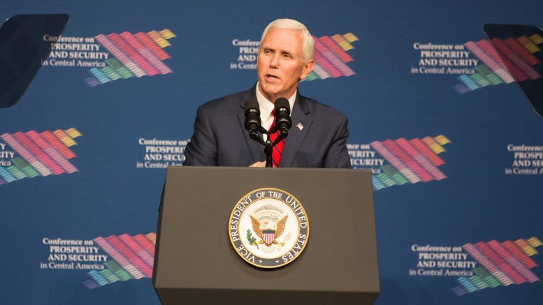Vice President Mike Pence delivers his keynote address at the Conference on Prosperity and Security in Central America in the GC Ballrooms.