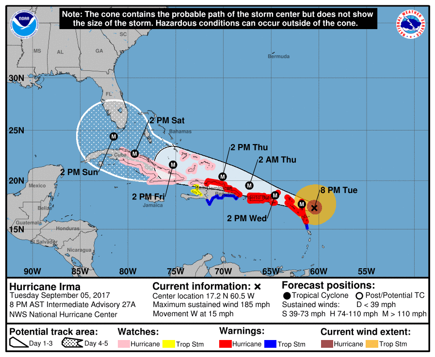 Classes at FIU are canceled as of 11 p.m. Tuesday night through the weekend for the university community to prepare for Irma, a category 5 hurricane.