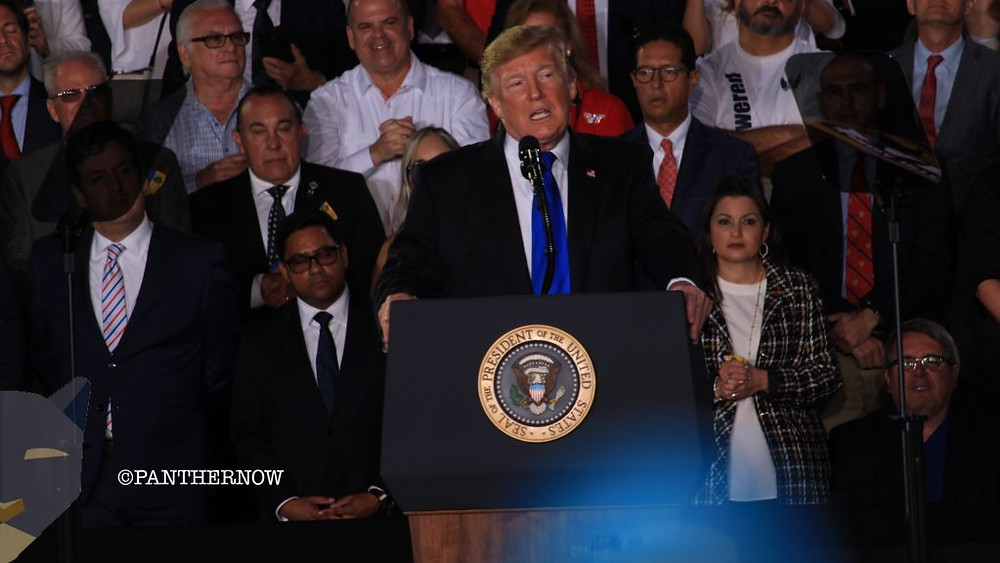 President Donald Trump addresses the crowd about the crisis in Venezuela at Florida International University on Monday, Feb. 18, 2019. Photo by Lazaro Bosch/PantherNOW