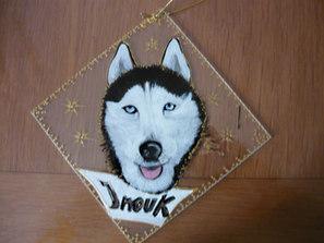 chien husky peint