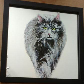 """chat """"maine coon"""" peint sur miroirj"""