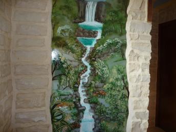 décor peint en extérieur de douche sur verre