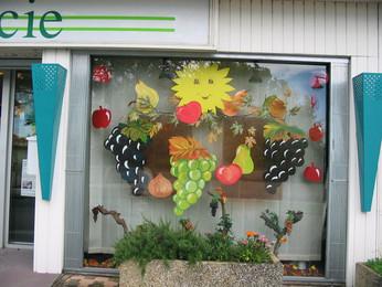 création décor de vitrine automne