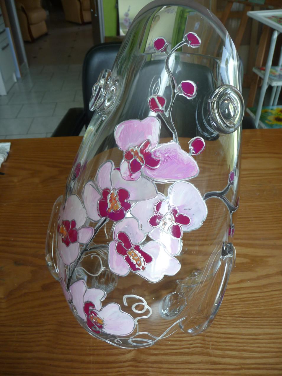 vase decor peint orchidée