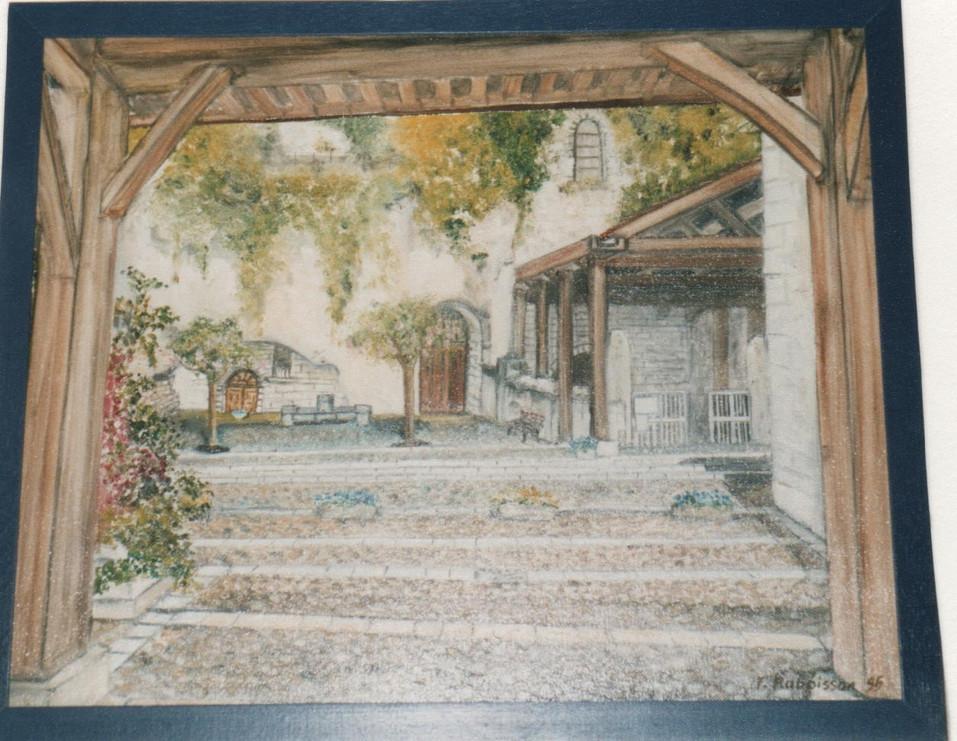 """1995 Aubeterre entrée de l""""église monolithe"""