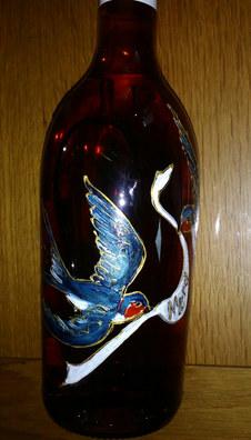 bouteille pineau Roussille décorée motif hirondelles _merci_.jpg