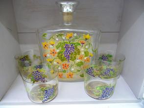 carafe et verres motif raisin