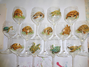verres peints décor tortues