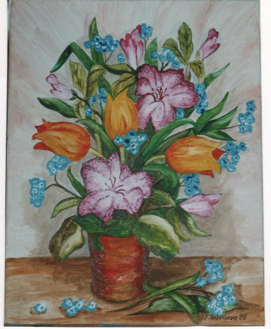 1999 bouquet myosotis tulipes