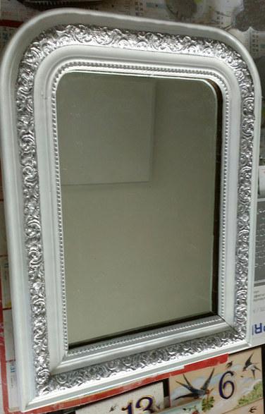 miroir cadre peint blanc et argent.jpg