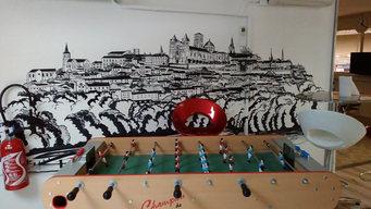 peinture murale Angoulême noir et blanc