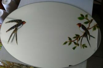 miroir décoré à la main d'hirondelles