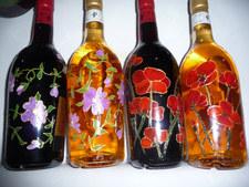 fleurs sur bouteilles.JPG