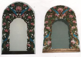 cadre miroir sculpté bois foncé