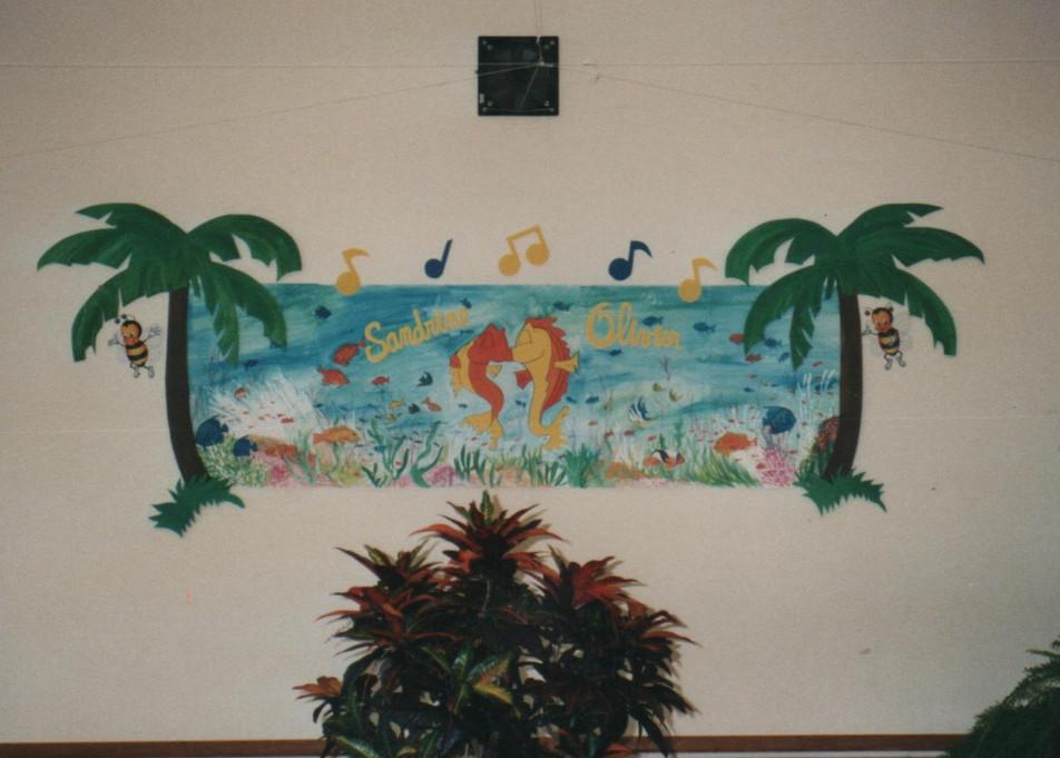 thème poissons décor scène