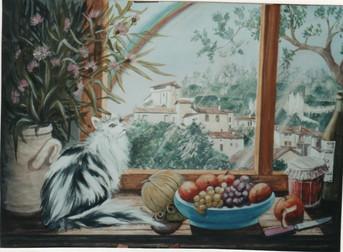 1997 chat à la fenêtre Aubeterre