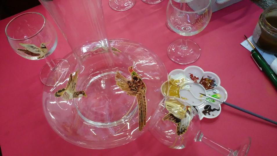 carafe et verres décor chasse